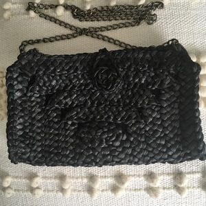 Black Woven Crossbody Bag with Chain Strap
